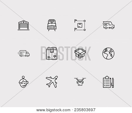 Logistics Icons Set. Distribution And Logistics Icons With Delivery Truck, Export And Delivery Airpl