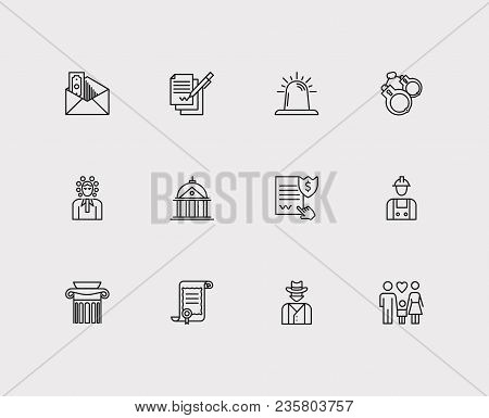 Court Icons Set. Court And Court Icons With Family, Penalty And Corrupt. Set Of Contact For Web App