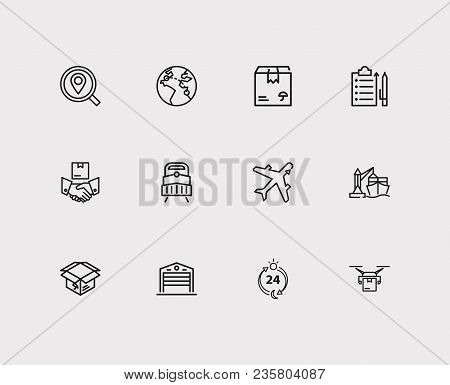 Carrying Icons Set. Delivery Airplane And Carrying Icons With Delivery Box, Export And Warehouse. Se