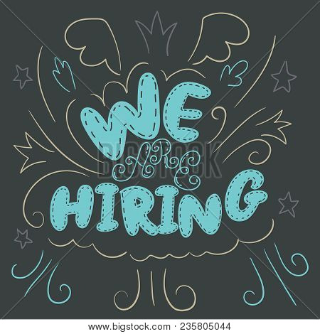 We Are Hiring Poster Illustration With Swashes And Swirls. Hr Social Media Clip Art