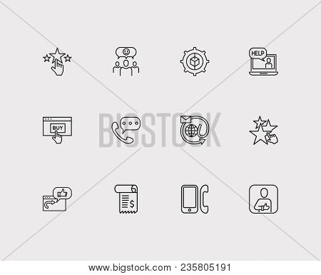 Customer Service Icons Set. Invoice And Customer Service Icons With Ecommerce, Satisfaction And Star