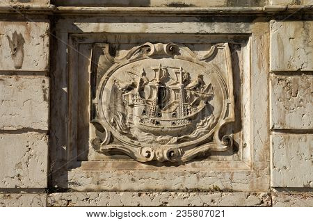 Left Low Relief Panel Of Kings Fountain Monument (chafariz Del Rei) Portraying A Ship. The Kings Fou