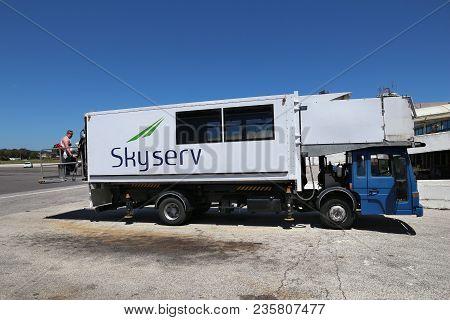 Corfu, Greece - June 6, 2016: Special Assistance Vehicle At Corfu International Airport, Greece. Per