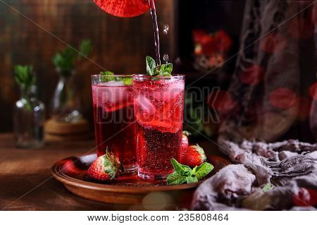 Strawberry Lemonade With Ice, Fresh Berries And Mint
