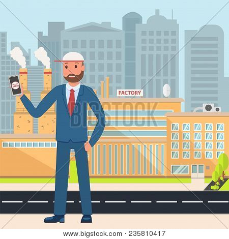 Vector Flat Illustration Of A Smart Factory On A City Background. Engineer Or Director In The Backgr