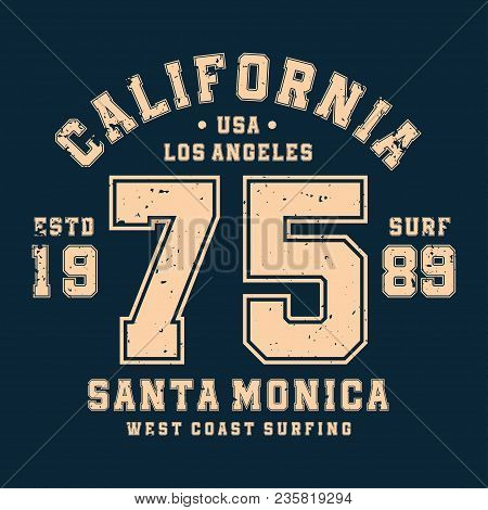 Surfing, California T-shirt Design, Badge For Athletic Shirt Print. Varsity Style T-shirt Graphics.
