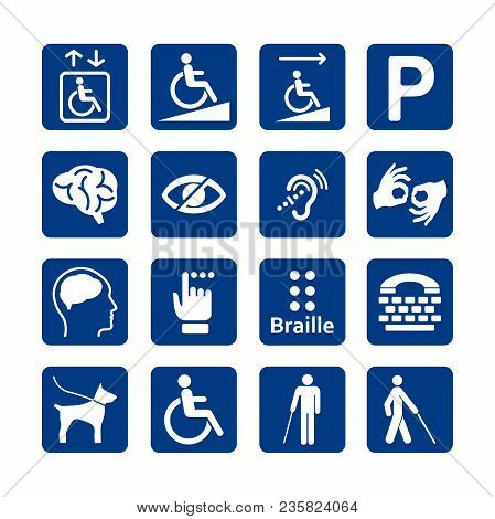 Blue Square Set Of Disability Icons. Disabled Icon Set. Mental, Physical, Sensory, Intellectual Disa