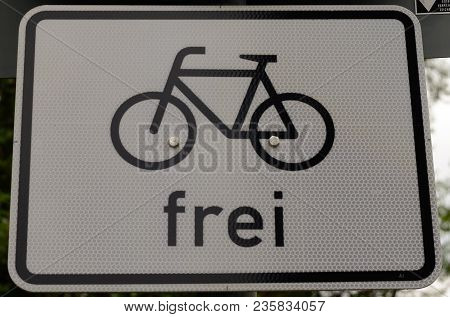 A German Cycling Allowed Sign Black And White Reflector