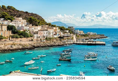 Levanzo, Sicily, Italy - September 22, 2016: View Of Levanzo Island, Is The Smallest Of The Three Ae