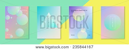Minimal Shapes Cover Set With Holographic Fluid. Gradient On Vibrant Background. Modern Hipster Temp