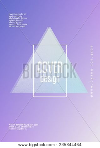 Holographic Fluid With Triangles. Geometric Shapes On Gradient Background. Modern Hipster Template F