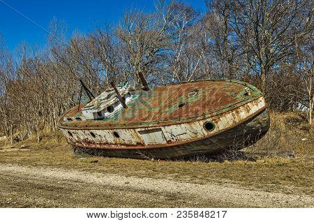 Rusty Ship With Good Looking Foghorns Abandoned On Land