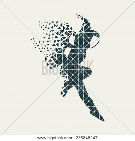 Astronaut In Spacesuit. Flying Silhouette Of A Spaceman Textured By Lines And Dots Pattern. Particle