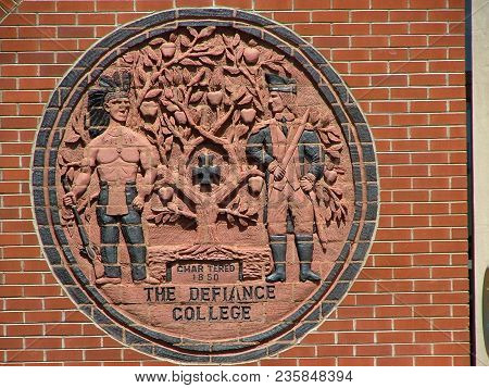 The Seal Of Defiance College On The Exterior Of Pilgrim Library, Defiance, Oh, May 7th, 2007