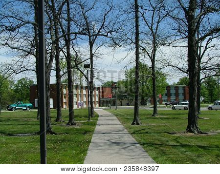 A Walk Through The Defiance College Campus With Mcreynolds Hall At The Far End, Defiance, Oh May 7,