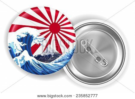 Japan Sea Wave Mt.fuji On Rising Sun Flag Brooch