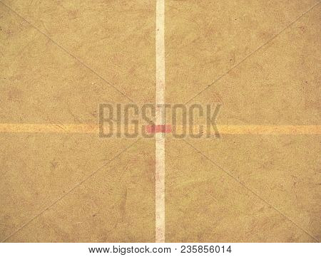 Border Lines On Court. Worn Out Green Red Hairy Carpet On Outside Hanball Playground. Floor Of Sport