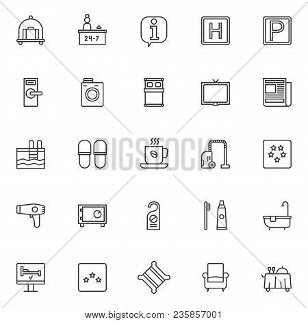 Hotel Elements Outline Icons Set. Linear Style Symbols Collection, Line Signs Pack Vector Graphics.