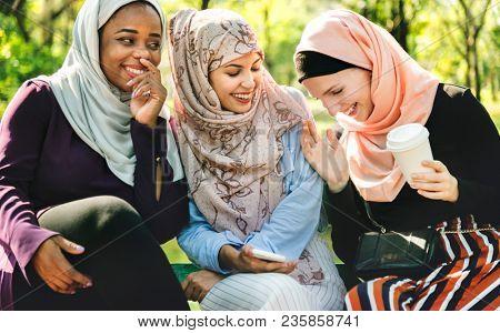 Islamic friends talking together