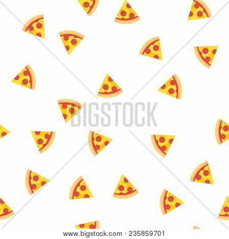 Pizza Slices With Sausage And Cheese Pattern Background. Appetizing Pizza Slices Seamlesss Pattern