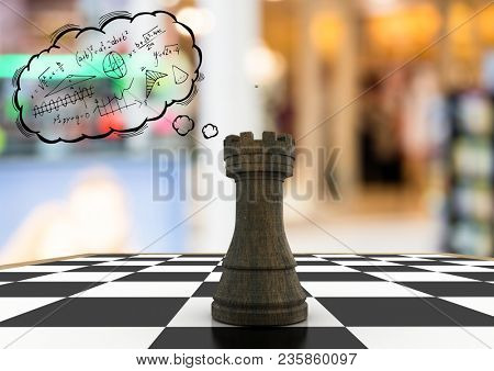 Chess piece against blurry background and thought cloud with math doodles