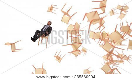 businessman flying on a chair, 3d illustration