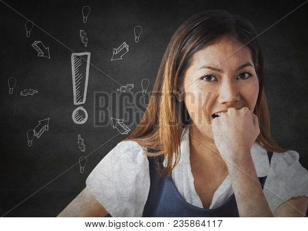 Frustrated business woman against grey wall and white exclamation point