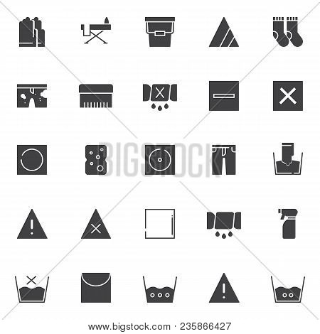 Laundry Elements Vector Icons Set, Modern Solid Symbol Collection, Filled Style Pictogram Pack. Sign