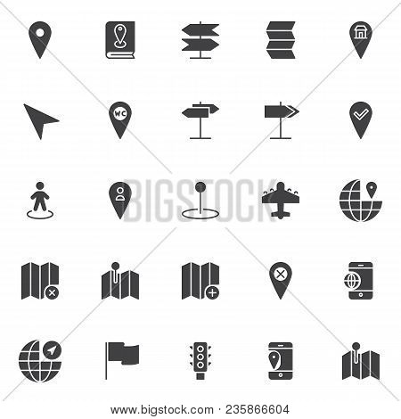 Location And Navigation Vector Icons Set, Modern Solid Symbol Collection, Filled Style Pictogram Pac