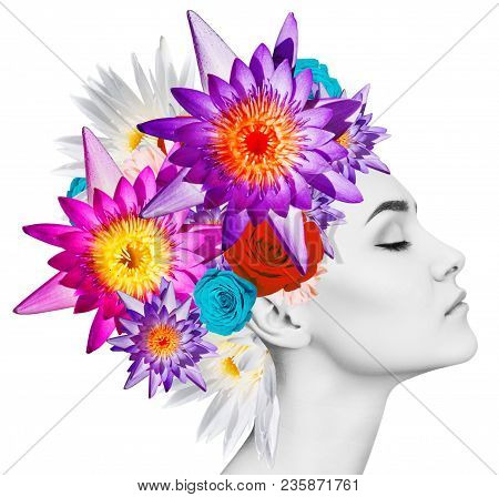 Beautiful Woman With Blooming Flowers On Her Head Instead Hair. Nature Hairstyle. Over White Backgro
