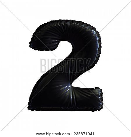 Number 2 (two) of black balloons on a white background. 3d rendering