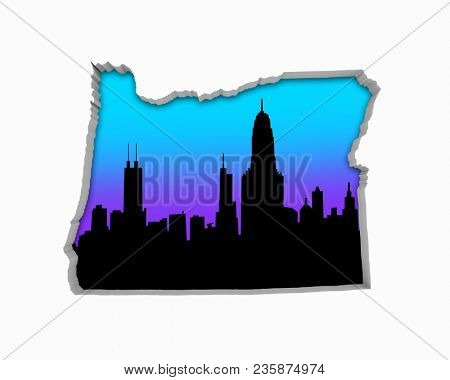 Oregon OR Skyline City Metropolitan Area Nightlife 3d Illustration