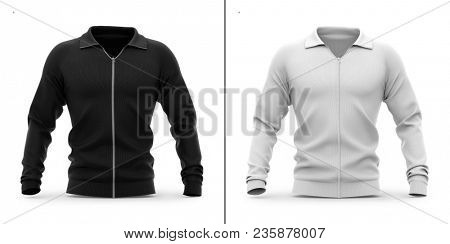Men's zip neck pullover with raglan sleeves. Front view. 3d rendering. Clipping paths included: whole object, sleeve, collar, zipper. Highlights and shadows template mock-up.