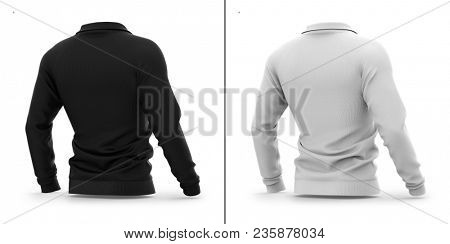 Men's zip neck pullover with raglan sleeves. Half-back view. 3d rendering. Clipping paths included: whole object, sleeve, collar. Highlights and shadows template mock-up. poster