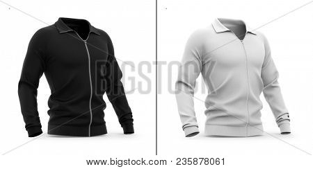 Men's zip neck pullover with raglan sleeves. Half-front view. 3d rendering. Clipping paths included: whole object, sleeve, collar, zipper. Highlights and shadows template mock-up. poster