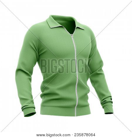 Men's zip neck pullover with raglan sleeves, rubber cuffs and collar. 3d rendering. Clipping paths included: whole object, collar, sleeve, zipper. Half-front view. poster