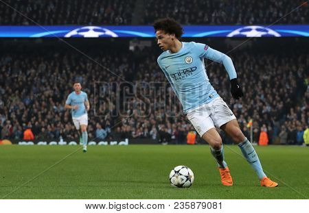 MANCHESTER, ENGLAND - APRIL 10: Leroy Sane  during the Champions League quarter final match between Manchester City and Liverpool at the Etihad Stadium on April 10, 2018