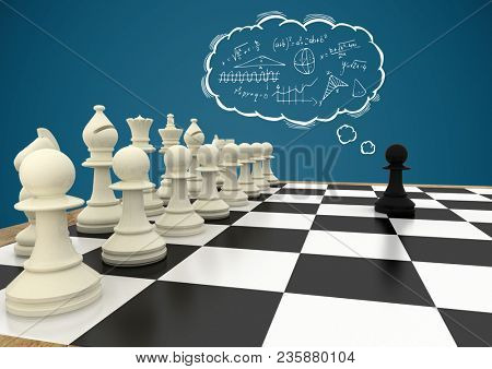 Chess pieces against blue background and thought cloud with math doodles