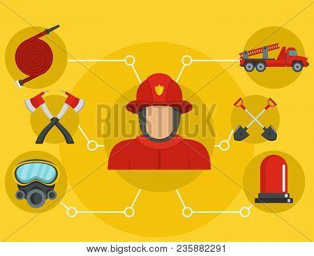 Firefighter Banner. Flat Illustration Of Firefighter Vector Banner For Web