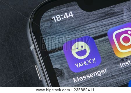 Sankt-petersburg, Russia, April 12, 2018: Yahoo Messenger Application Icon On Apple Iphone X Smartph