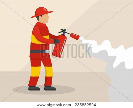 Firefighter Concept. Flat Illustration Of Firefighter Vector Concept For Web