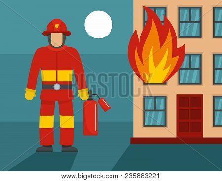 Standing Firefighter Concept. Flat Illustration Of Standing Firefighter Vector Concept For Web