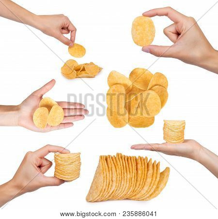 Set Of Different Tasty Corrugated Chips With Hand, Isolated On White Background, Potato Chips, Unhea