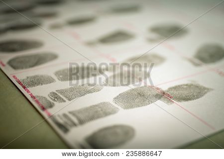 Physiological Biometrics Concept Of Criminal Record By Suspect Fingerprint For Forensic Science Data