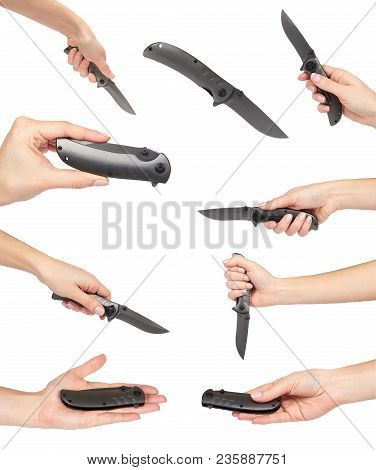 Set Of Different Sharp Metal Pocket Knife In Hand. Isolated On A White Background. Cold Weapon, Self