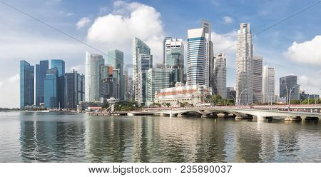 Singapore Skyline In Daytime.panoramic View Of Singapore Business District.modern Buildings Landscap