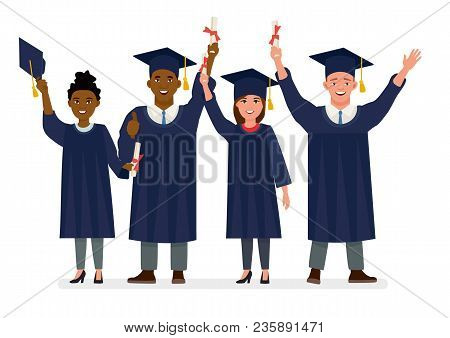 Education, Graduation And People Concept - Group Of Happy International Students In Mortar Boards An