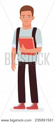 Sad Student With The Book. Cartoon Flat Vector Character Illustration On White Background.