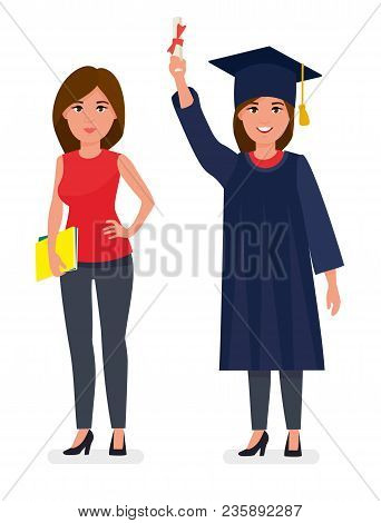 Graduated Student Girl Young Woman In Cap Gown Showing Holding Diploma Scroll. Celebrating Graduatio
