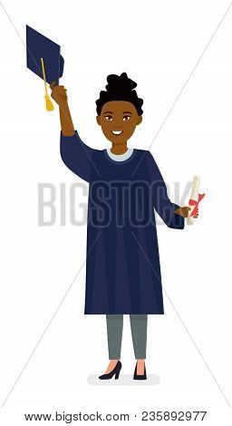 Afro American Young Woman College Graduate In Cap And Gown With Diploma. Cartoon Vector Flat Charact